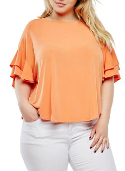 Plus Size Tiered Sleeve Top - ORANGE - 1912074281446