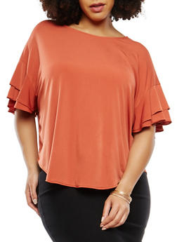 Plus Size Tiered Sleeve Top - RUST - 1912074281446