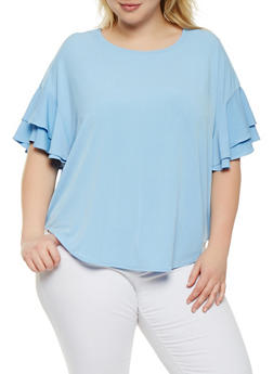 Plus Size Tiered Sleeve Top - BLUE - 1912074281446