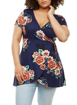 Plus Size Faux Wrap Floral Top - 1912074281613