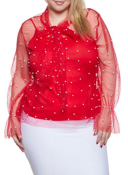 Plus Size Tie Neck Faux Pearl Top - 1912074281918