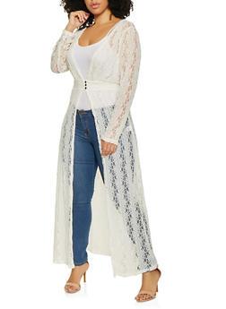 Plus Size Lace 3 Button Maxi Top - 1912074282237
