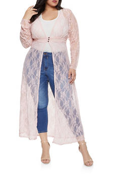 Plus Size Lace 3 Button Maxi Top - 1912074282237