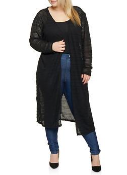 9866f50f0c Plus Size Patterned Crochet Duster - 1912074282238