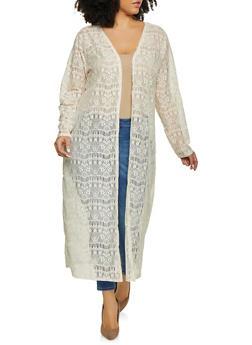 Plus Size Patterned Crochet Duster - 1912074282238