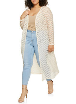 Plus Size Patterned Crochet Duster - 1912074282238