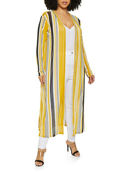 Plus Size Mesh Striped Duster - 1912074282239