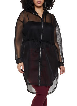 Plus Size Drawstring Mesh Hooded Jacket - 1912074282240