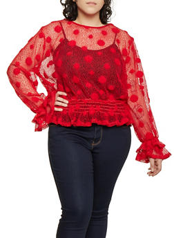 Plus Size Fishnet Polka Dot Top - Red - Size 2X - 1912074282241