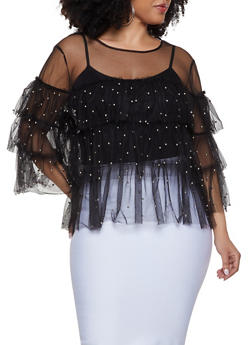 Plus Size Studded Tiered Mesh Top | 1912074282243 - 1912074282243