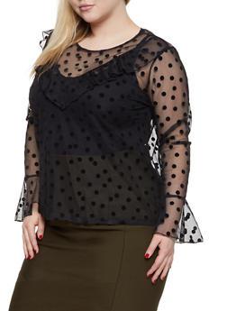 Plus Size Polka Dot Ruffled Mesh Top - 1912074282245