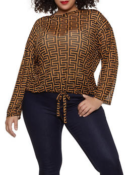 Plus Size Geometric Print Mesh Top - Brown - Size 1X - 1912074282251