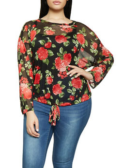 Plus Size Floral Mesh Top - 1912074282253
