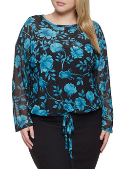 Plus Size Floral Mesh Top - 1912074282254