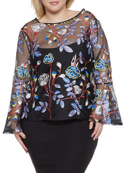 Plus Size Floral Embroidered Mesh Top - 1912074282257