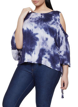 Plus Size Cold Shoulder Tie Dye Top - 1912074282258