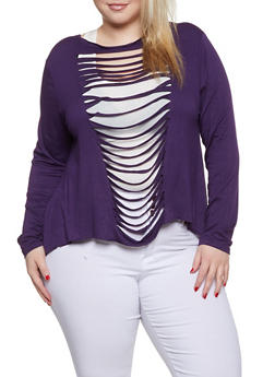 Plus Size Slashed High Low Top  285eb087ddd7