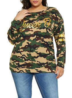 Plus Size Printed Queen Bee Foil Tee - OLIVE - 1912074282261