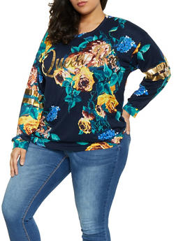 Plus Size Printed Queen Bee Foil Tee - NAVY - 1912074282261