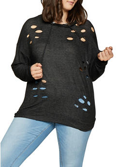 Plus Size Distressed Sweatshirt - 1912074282264
