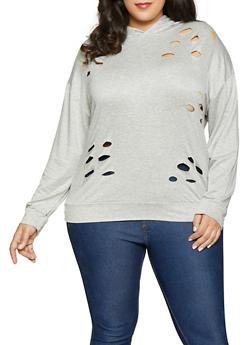 Plus Size Distressed Sweatshirt - 1912074282264