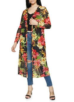 Plus Size Floral Mesh Duster - 1912074282265