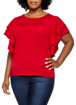 Plus Size Tiered Ruffle Sleeve Top - 1912074282767