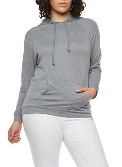 Plus Size Solid Hooded Sweatshirt - 1912074283080