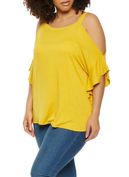 Plus Size Cold Shoulder Flutter Sleeve Top - 1912074283101
