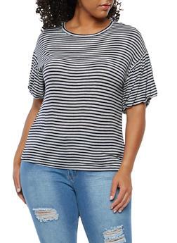 Plus Size Striped Knit Top - 1912074283105