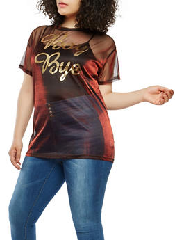 Plus Size Shimmer Knit Graphic Tunic Top - 1912074283117