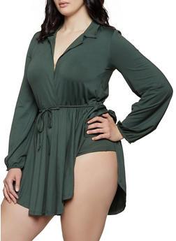 Plus Size Faux Wrap Ruffle Overlay Bodysuit - 1912074283126