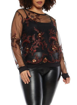 Plus Size Mesh Embroidered Top - 1912074283311