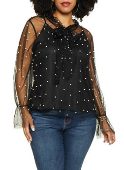 Plus Size Faux Pearl Mesh Tie Neck Top - 1912074283714
