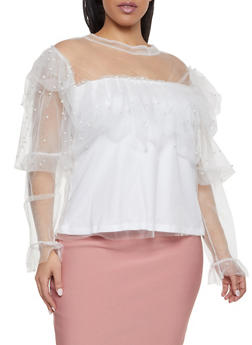 Plus Size Tiered Faux Pearl Mesh Top - 1912074283723