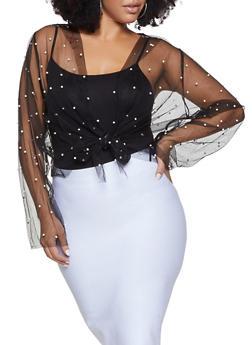 Plus Size Faux Pearl Mesh Tie Front Top - 1912074283724