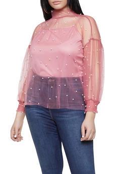 Plus Size Faux Pearl Mesh Top - 1912074283725