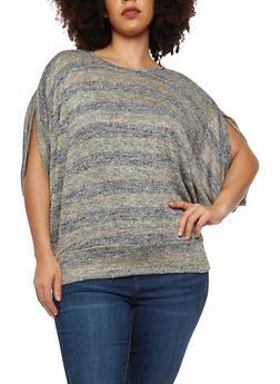 Plus Size Shimmer Knit Striped Dolman Top - 1912074283800