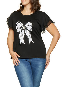 Plus Size Sequin Bow Flutter Sleeve Tee - 1912074283812