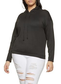 Plus Size Faux Pearl Hooded Sweatshirt - 1912074283815