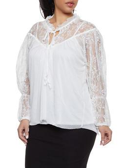 Plus Size Tie Neck Lace Top - 1912074284009