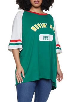 Plus Size Movin Out Baseball Tee - 1912074284010
