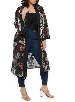 Plus Size Foil Floral Mesh Duster - 1912074284140