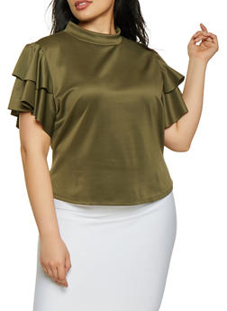 Plus Size Tiered Short Sleeve Mock Neck Top - 1912074284142