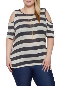 Plus Size Cold Shoulder Striped Tee with Necklace - 1912074284143