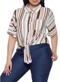Plus Size Striped Soft Knit Button Front Shirt - 1912074284237