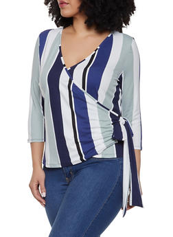 Plus Size Striped Soft Knit Faux Wrap Top - 1912074284238