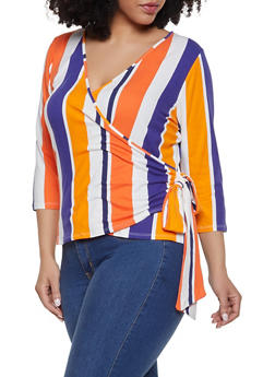 Plus Size Striped Soft Knit Faux Wrap Top - 1912074284238