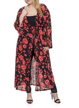 Plus Size Floral Mesh Duster - 1912074284305