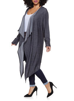 Plus Size Braided Laser Cut Duster - 1912074285217